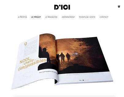 Webdesign du site D'ICI Mag, magazine de photographies.