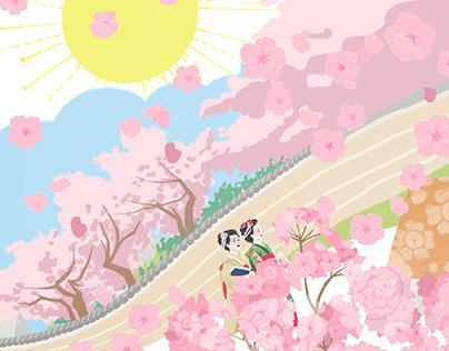 旅行插画:春日樱花之旅 Cherry Blossom Trip