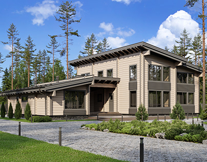 Log houses for construction company