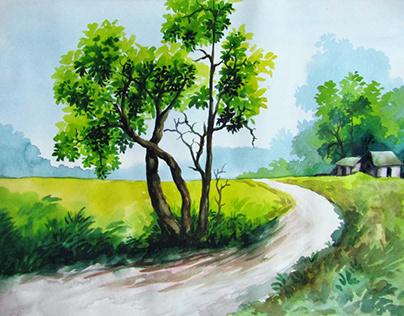 Beautiful village painting on art paper