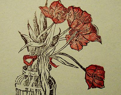 """Linocut """"Tulips"""""""
