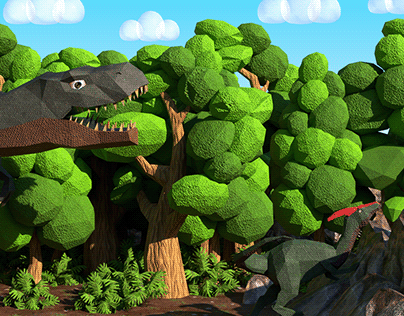 Dinosaur Life - 3D Illustration