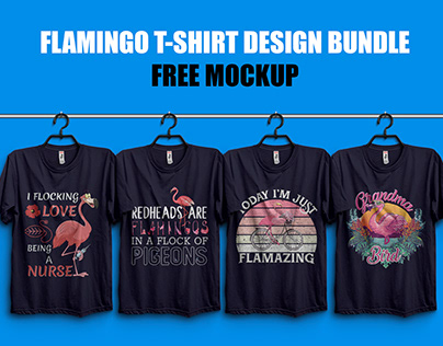 Flamingo T-Shirt Design Bundle with Free T Shirt Mockup