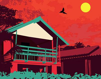 Retro Style Thai Bungalow Poster Illustration