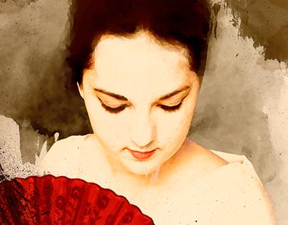 Geisha Aquarela Digital