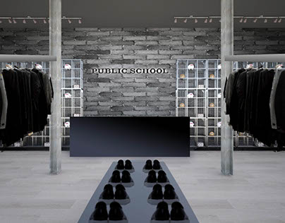Public School Retail Store Mock Up