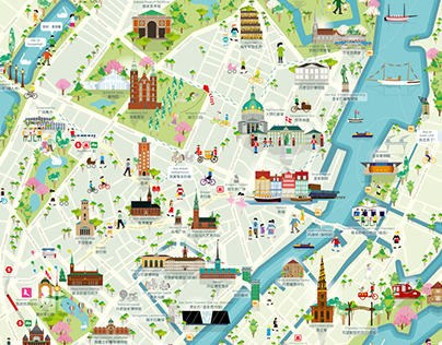 Illustrated Copenhagen map for chinese turists on Behance