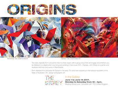 Origins Exhibit poster for marketing the show.