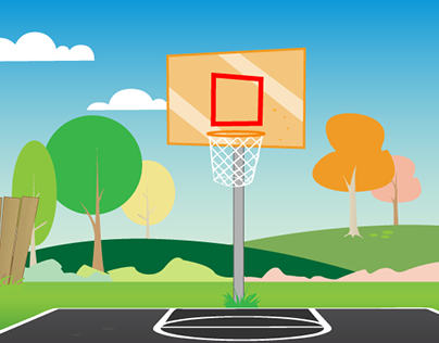 Illustrated Basketball Court