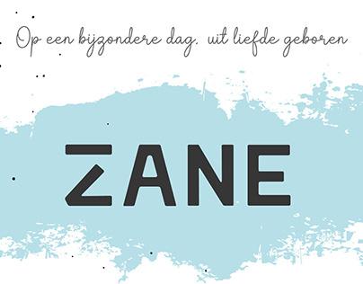 Geboortekaartje Zane