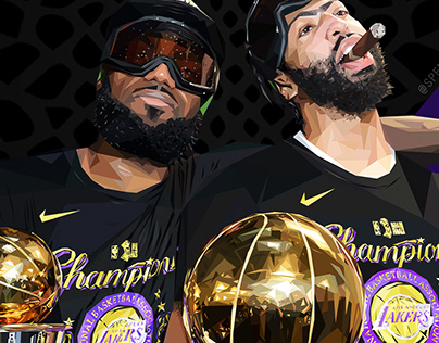 2020 NBA Champions Los Angeles Lakers Triangle Art