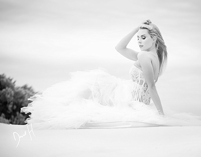 Wedding dress on dunes