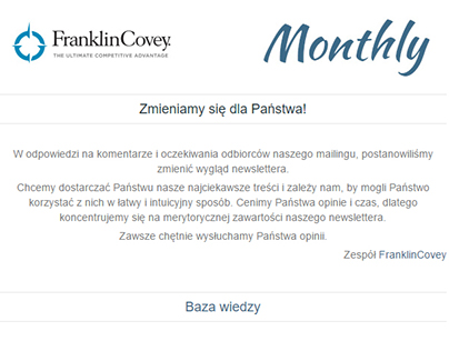 E-mail - Newsletter FranklinCovey Monthly