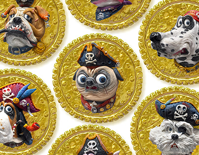 Pirate coin NFT dog character illustration