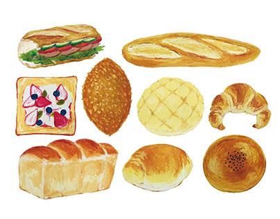 9 types of bread illustrations
