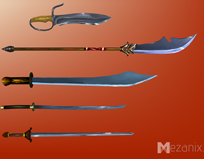 HAND PAINTED, LOWPOLY MELEE WEAPONS, CHINESE, FOR UNITY