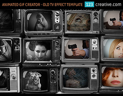 Animated GIF creator in Photoshop Old TV video template