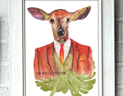 Watercolour animal illustrations