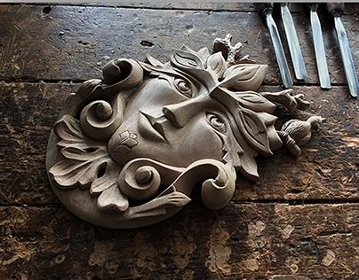 Mascaron woodcarving