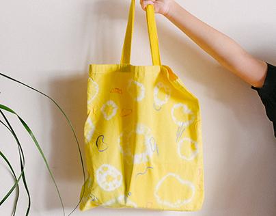 Handmade tie-dye tote bag