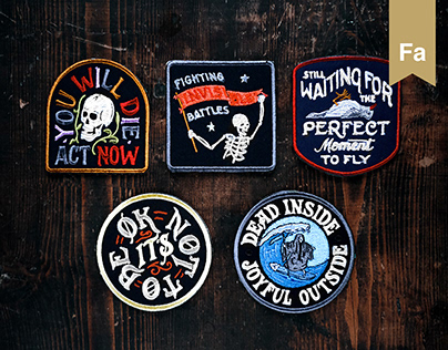 Embroidery lettering patches design.