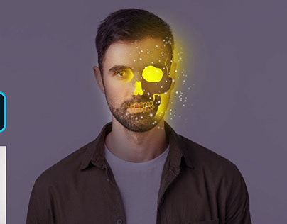 Glowing Skull Portrait Effect Photoshop