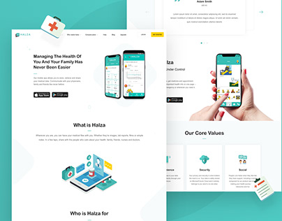 Halza application, Landing Page
