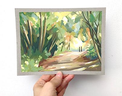 Landscape gouache paintings
