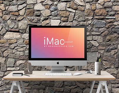 Free Apple iMac 27-Inches Photo Mockup PSD