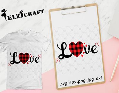 Buffalo Plaid Love Design / SVG Cut File