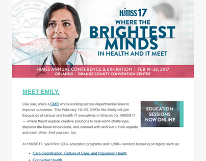 HIMSS17 Education Sessions Email Newsletter