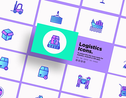 Logistics | 16 Thin Line Icons Set
