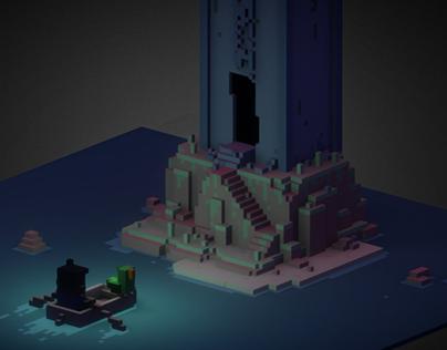Moon tower island - voxel scene