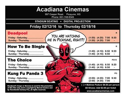 Acadiana Cinemas Deadpool Ad
