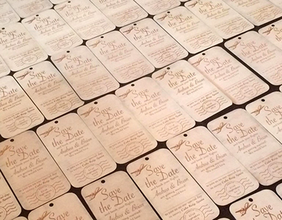 Wedding Invitation Laser engraved on wood