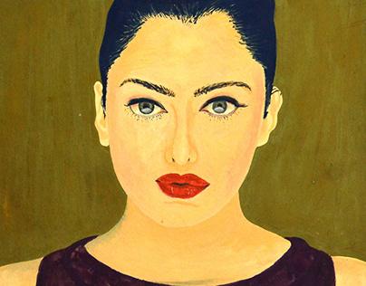 Poster Color Portrait of Aishwarya Rai