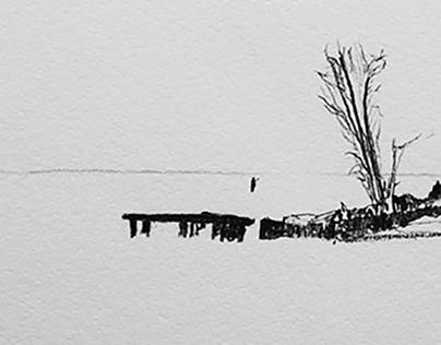 Great Lakes panoramic drawings.