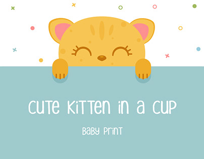 Set of baby prints with kittens in cups.