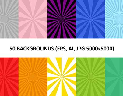 50 Burst Backgrounds (AI, EPS, JPG 5000x5000)