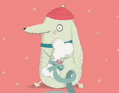 Weihnachtskarte Hundeladen