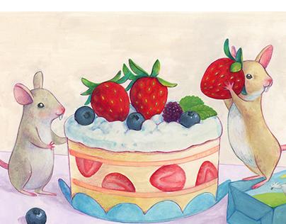 Ratones haciendo un pastel