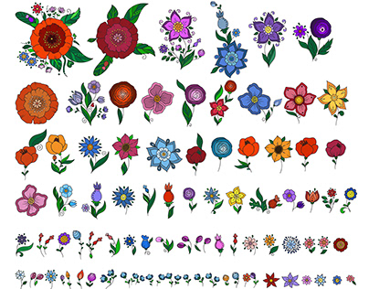 Doodle flowers. Floral set of elements Seamless pattern