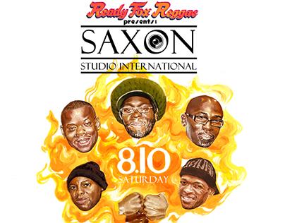 Saxon 5 - concert poster  For Ready Fox Reggae