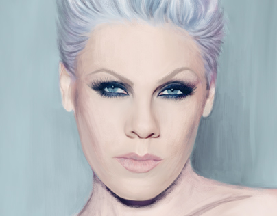 Digital painting. Portrait of the singer Pink. Fan art.