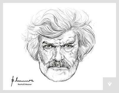 Official portrait illustration of Reinhold Messner