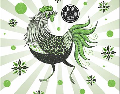 Hop Nation brewery beer label's illustration