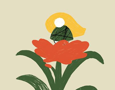 little girl Red flower
