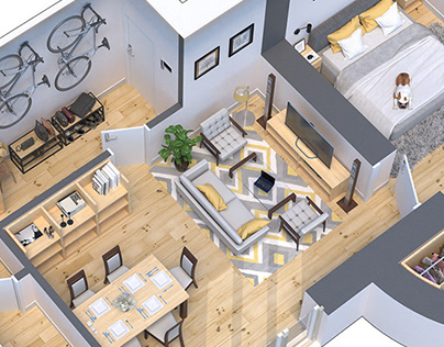 3D floor plans of two rent apartments