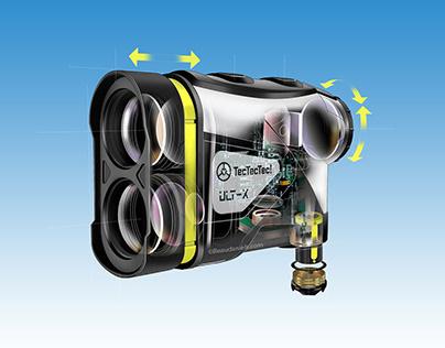 Golf range finder, cutaway technical illustration