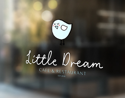 Cute Blue Bird Logo for a Cafe